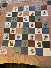 Vtg Alphabet Cross Stitch Boys Blanket Quilt - 50� X 45� Hand Made