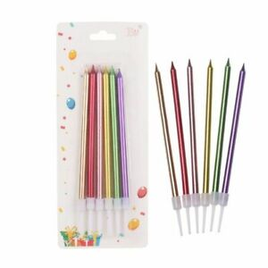 Cute Long Cake Candles Birthday Party Supplies Safe Flames Decorations 6pcs New