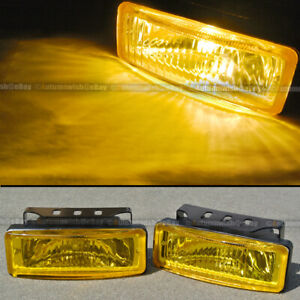 For Cougar 5 x 1.75 Square Yellow Driving Fog Light Lamp Kit W/ Switch & Harness