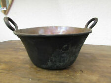 Antique Mexican Copper Bowl #8-Old Cazo-Rustic-Primitive-15Wx6D-Beauty-Solid