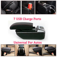 Auto 7 USB Rechargeable PU + ABS Central Container Armrest Storage Box w/Light