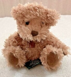 """Russ small BEAR brown with bow tie 7"""" beanbag plush"""