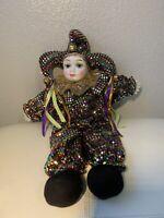 Vintage Harlequin Pierrot Clown Porcelain Hands Face Doll Rainbow Sequin Glitter