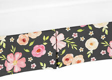 Sweet Jojo Watercolor Floral Black and Pink Baby Girl Crib Bed Skirt Dust Ruffle