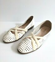 Supersoft Diana Ferrari White Perforated Leather Ballet Flats - Hallie Size 7.5