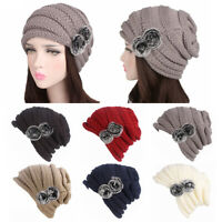 Women Winter Warm Knit Beanie Hats Ladies Knit Ski Cap with Faux Fur Pom Pom New