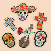 Rock Punk Rose Badge Candy Skull Iron on Patch Hat Shirt Embroidery Appliques