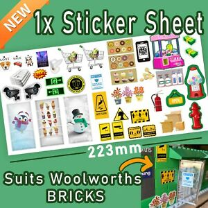 LIMITED Sticker Sheet (40 mini stickers) SUITS Woolworths BRICKS EXCLUSIVE*