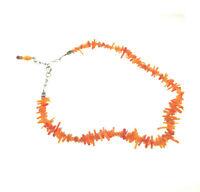Vintage Orange Coral Branch Hawaii Necklace Choker 925 Sterling silver