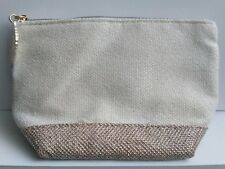 Clarins Small Cream & Gold Woven Make Up Bag Gold Leaf Zip New *FAST POST*
