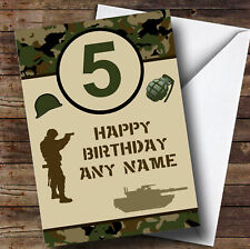 Army Age Green Camo Personalised Children's Birthday Card