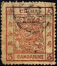 China #8 Used 3c Brown Red Large Dragon from 1883