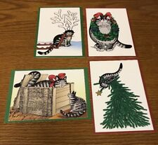 "4 Kliban Kilban Cat Christmas Holiday Cards Envelopes ""Seasons Greetings"" Rare"