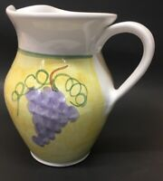 "Vintage Hand Painted Caleca Pottery Frutta Pitcher Italy Fruit Pattern 8"" Yellow"