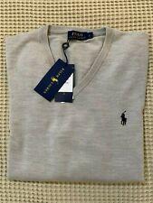 Maglione Pullover Uomo Polo Ralph Lauren Lana Merinos Beige scollo V Taglia L