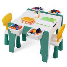 7in1 Kindertisch mit 2 Stühlen Bausteinen Spielzeug Spieltisch Maltisch Tischset