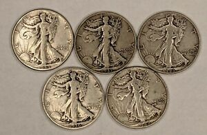 5 Different Dates Walking Liberty Half Dollars Silver 90% 187228D