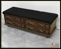Vintage 60s Mid Century Lane Cedar Chest Bench - Carved Wood New Upholstery