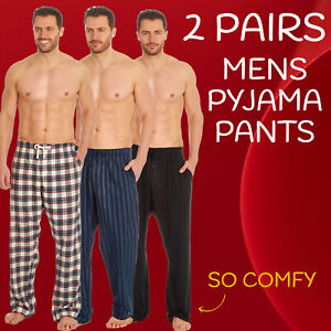 2 Pack Mens Pyjama Bottoms Pajama Pants Lounge PJ Trousers Cotton Checked Woven