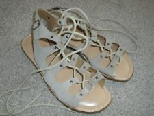 Next cream / beige suede slave gladiator sandals ties ankles size 7 nearly new