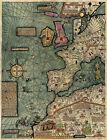 """Mapamundi Cresques Catalan Atlas World Map 1375 Mapamondi Poster 1st leaf 11""""x14"""