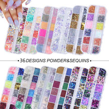12 Grids/box Nail Art Glitter Powder Butterfly Sequins Laser Flakes Decoration