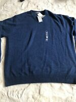M&S Mens Jumper Uk Size 3XL 100% Lambs wool Blue BNWT £35 Long Sleeve Warm Smart