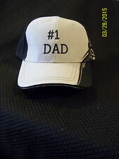 Baseball Cap with # 1 Dad on the Front Panel with a Flame on the Left Side