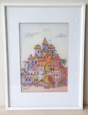 Jerusalem Pastel Color Art Print on Silk Framed w/Glass, Signed, Menorah Gallery