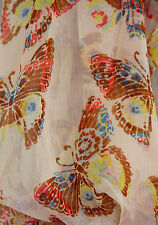 ALLUSIONS BUTTERFLY SCARF BROWNS, ORANGES, BLUES & YELLOW ON CREAM