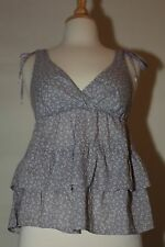 AMERICAN EAGLE OUTFITTERS XS V NECK RUFFLED BLUE DRESS TOP SHIRT BLOUSE COTTON