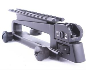 🔥 Carry Handle With Rear Sight Matte Black Aluminum Picatinny Rail Combo Mount