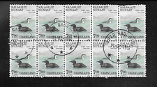 GREENLAND ISSUE - 1988 USED COMMEMORATIVE BLOCK OF 10 STAMPS BIRDS GAVIA IMMER