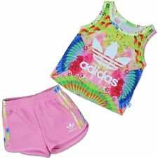 Adidas Original BABY GIRL SET DE REGALO Combi Shorts Tank Top Nacimiento Rosa 62