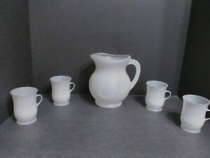 White Kool Aid Vintage Pitcher and 4 Cups
