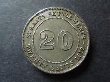 J1352   STRAITS SETTLEMENTS 1919 B  SILVER  20  CENTS  AU