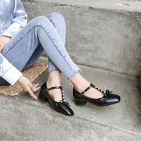 Womens Mary Jane Shoes T-strap Buckle Block Low Heel Square Toe Casual Pumps New