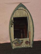"23 3/4"" High Fishing Boat Rod Fish Wall Mirror Decoration"