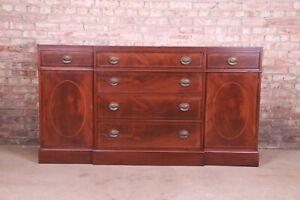 Baker Furniture Inlaid Mahogany Sideboard Credenza or Bar Cabinet, Refinished