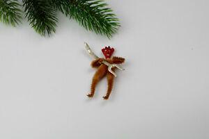 Antique spun cotton,bisque and chenille Christmas Ornaments,Devil.Germany.