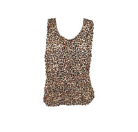 Popcorn Blouse Tank Sleeveless Top Leopard One Size Fits Most Small to XL