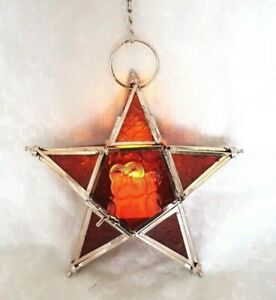 Glass star lantern tea-light holder red and silver made in India -18.5cm