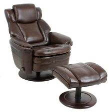 Barcalounger Eclipse II Genuine Promenade Chocolate Leather Recliner and Ottoman