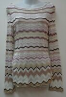 White House Black Market Small Top Shirt Blouse Chevron Woven Sweater Womens