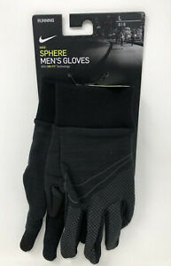 New Nike Men's Large Outdoor Running Gloves Black Dri-Fit Touch Screen #60