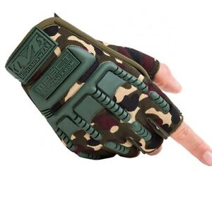 Tactical Half Finger Gloves  Military Combat Police Camouflage Fingerless