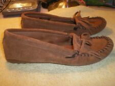 Minnetonka Moccasins Shoes Loafers Driving Mocs Brown Leather Women's 10 FR/SHP