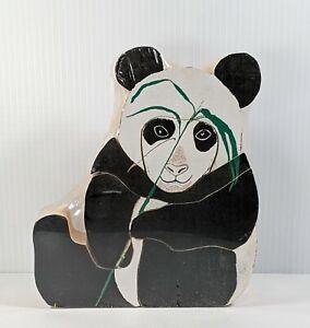 "Vintage 1978 Handmade Children's Large Wooden Block Panda Puzzle 8"" x 7"" Eco Toy"