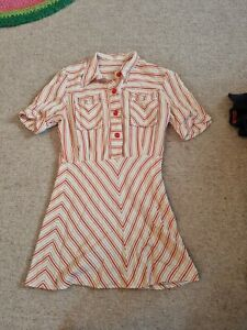 True Vintage 60s Mod Twiggy Style Striped Dress Size 6