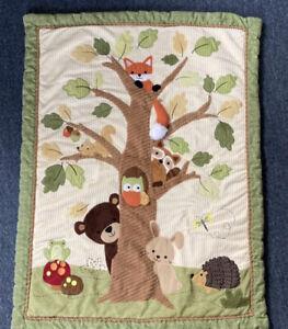 Lambs & Ivy Baby Blanket Crib Quilt Comforter Forest Animals Green Textured